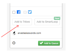 screenshot of a pin in your drafts with an arrow pointing at the place that says add to tribes.