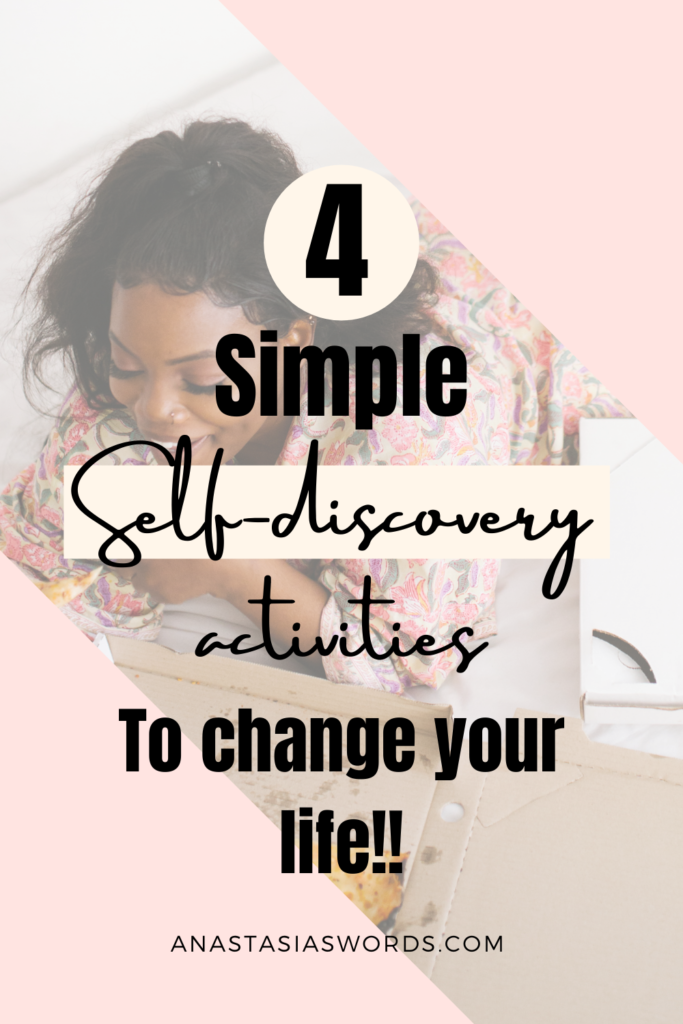 Image of a smiling woman who is lying down and eating with a text overlay that says '4 simple self-discovery activities to change your life!' It also has the domain name 'anastasiaswords.com'
