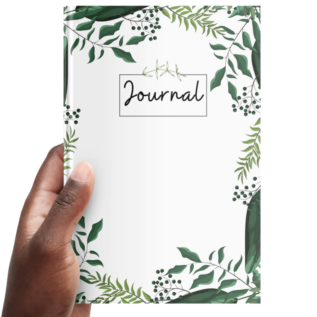 A journal with plants on the cover in the hand of someone.